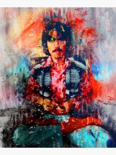 """""""Mystical Beatle Abstract Portrait Painting"""" Mounted Print by MysticSoulwork 