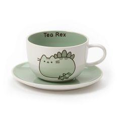 Enesco Pusheen by Our Name is Mud Tea-Rex Stoneware Teacup and Saucer, 2 Pieces, Green Gato Pusheen, Pusheen Stuff, Bebidas Do Starbucks, Retro Girls, Cute Cups, Cute Kitchen, Cup And Saucer Set, Tea Set, Kitsch