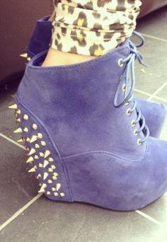 Blue Stud Studded Ankle Boot Wedges  from OMGLook