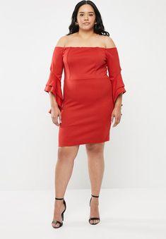 Bodycon bardot neckline dress - red STYLE REPUBLIC PLUS Dresses | Superbalist.com Grad Dresses, Plus Dresses, Red Fashion, Fashion News, Red Style, Fashion Branding, Bardot, Dress Red, Neckline