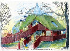 Ecocyclic Home, designed for Skansen, Stockholm. Sketch by Leif Qvist. Greenhouses, Stockholm, Interior Architecture, Sustainability, Building A House, Recycling, Alternative, Homes, Interiors