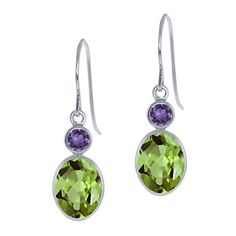 286 Ct Oval Green Peridot and Purple Amethyst 14K White Gold Womens Earrings >>> Read more at the image link.
