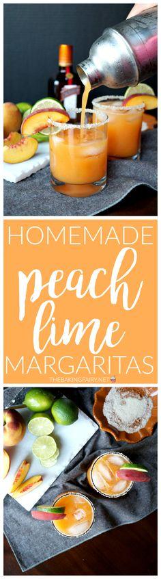 homemade peach lime margaritas | The Baking Fairy