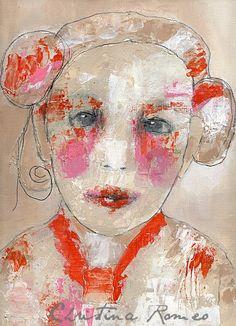 S W E E T....Original Acrylic Mixed Media Painting by Christina Romeo