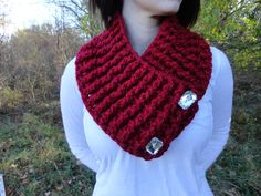Sparkly Red Neck Warmer Crochet Neck Warmer with by TheCrochetLion, $35.00