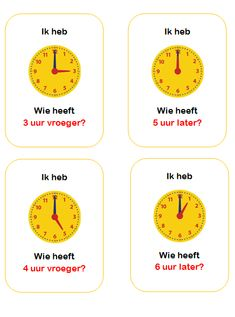 Ik heb... wie heeft? Oefenen van de hele uren. Geschikt voor groep 3 en 4. Clock For Kids, Montessori Math, Too Cool For School, Math Classroom, Fun Learning, Teaching, Teaching Manners, Learning