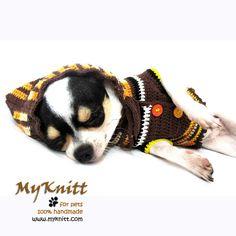 Dog Hoodie Sweater Brown Camouflage Nature Puppy by myknitt #myknitt #handmade #crochet #hood #chihuahua #yorkshire #costume