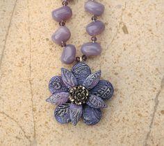Artisan Flower Necklace Lavender Purple by singingcatstudio