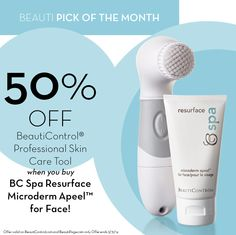 BeautiControl® Professional Skin Care Tool is only $10 USD through the month of March with purchase of BC Spa Resurface Microderm Apeel™ for Face! www.beautipage.com/cindyspadiva