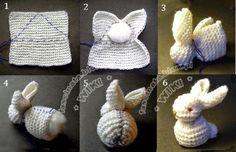 Conejo tipo amigurumi tejido con dos agujas y armado con vellón e hilo, paso a paso en fotos