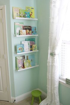 Valspar paint color on Project Nursery - Girl Nest Nursery Book Ledges Mint Green Nursery, Aqua Nursery, Girl Nursery, Girl Room, Nursery Curtains Girl, Crib Bedding, Book Ledge, Ikea Pictures, Nursery Inspiration