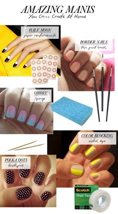 AMAZING Manis you can do at home! These are really cool! Ombre's, Border nails, half moon, color blocking and more!