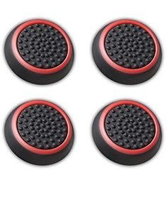 Fosmon Silicone Thumb Stick Analog Controller Grip Caps (4 pack / 2 Pair) for PS4, PS3, Wii U, Wii Nunchuck, Xbox One, and Xbox 360 Gamepads - Fosmon Retail Packaging (Black/Red)