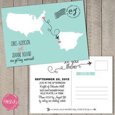 Destination Wedding Invitation Postcard Aqua & Coral by WeddingPlanningShop