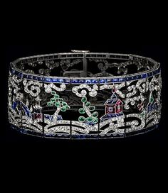 Art Deco Chinoiserie Sapphire, Emerald, Ruby and Diamond Bracelet. #chinoiserie