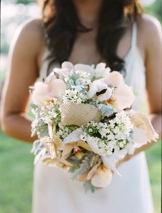Organic burlap and cotton bouquet