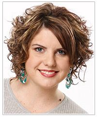 Medium length curly hairstyle - cute!  Would bangs work?  Make me nuts?  Too hard to keep straight?