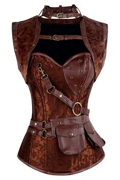 THIS SHIPS TO THE US ONLY. PLEASE,NO INTERNATIONAL ORDERS ON RETURNED ITEMS.ALL SALES ARE FINAL Like new, Atomic Brown Steampunk High Neck Overbust Corset and Shrug is a return item. We have meticulously inspected all return items and verify that they are unused, unworn and in mint condition. Take advantage of this and grab it at this huge discount! The Atomic Brown Steampunk High Neck Overbust Corset and Shrug feature faux leather accents, removable high neck shrug with faux leather buckle…