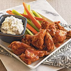 Buffalo-Style Drummettes with Blue Cheese Dip | MyRecipes.com #MyPlate #protein #vegetable