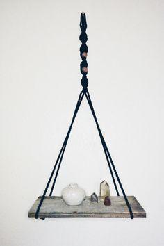 Black Macrame Hanging Shelf  Reclaimed Wood by LisaMTerry on Etsy