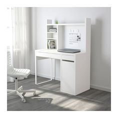 """MICKE Computer work station - white - IKEA -- """"You can keep your desk clear of paper by writing your notes on the magnetic writing board on the back panel or fastening your to-do lists there with a magnet. Ikea Linnmon, Ikea Micke, Ikea Brusali, Ikea Malm, White Desk With Hutch, White Desk With Drawers And Shelves, Bedroom Desk, White Desks, Bedroom Decor"""