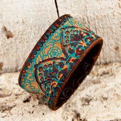 Gypsy Boho Chic Leather Cuff Bracelet