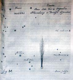 Anche questa tavola fu scolpita da Hevelius ed è quasi una fotografia della cometa osservata la notte del 29 settembre 1647 tra le costellazioni di Bootes