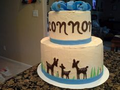 Deer baby shower cake