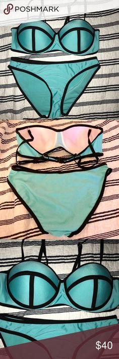Teal With Black Trim BRAND NEW Bikini ✨BRAND NEW✨ Never worn. Size M. Teal and black. TRIANGL inspired. triangl swimwear Swim Bikinis