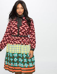Mashup Print Fit and Flare Dress from eloquii.com