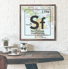 San Francisco California Sf Vintage Periodic Map ART PRINT This makes the perfect housewarming, Christmas, couples or birthday gift of their home town or present city. *The date in the right corner of