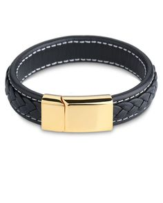 Woven Black Nappa Leather Men's Wristband with 18K gold magnetic clasp - Forziani