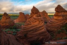 Teepee formations pose at sunrise in Coyote Buttes South in the Paria Canyon-Vermilion Cliffs Wilderness on the border of Arizona and Utah. Coyote Buttes South, Beautiful World, Beautiful Places, Paria Canyon, Geology, Great Photos, Mother Nature, Wilderness, Monument Valley