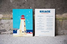 Illustration and menu for Lobster takeaway business Smack Lobster Roll designed by & Smith. #menu