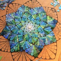 """Another layer down, Siobhan Allen Mosaics I love the design and the color choices. It's beautiful now even though it isn't yet finished!"""