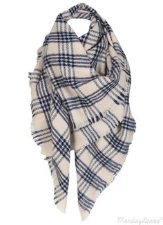 Light Tan And Navy Plaid Blanket Scarf