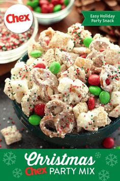 Have your guests in the Holiday spirit with our recipe for Christmas Chex™ Party Mix! Made with festive colored candies and sweet vanilla, this recipe brings Holiday cheer to any gathering. Holiday Snacks, Christmas Party Food, Snacks Für Party, Christmas Cooking, Christmas Desserts, Holiday Recipes, Christmas Chex Mix, Christmas Candy, Christmas Goodies