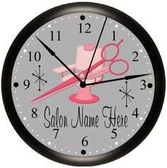Beauty Shop / Beauty Salon / Hair Stylist / Hairdresser Personalized Pink Wall Decor Business Clock Gift Idea By Simply Southern Gift.