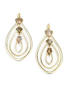would be nice for your teal dress..Alexis Bittar Labradorite and White Quartz Doublet Loop Earrings
