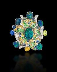 Margot McKinney Flower Ring with Opals Diamonds Sapphires