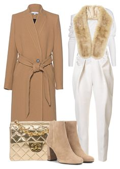 """""""Camel and White"""" by ojomrs on Polyvore featuring Tom Ford, Delpozo, Miss Selfridge, IRO, Chanel and Yves Saint Laurent"""