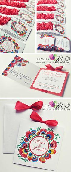 """projekt ŚLUB - zaproszenia ślubne, oryginalne, nietypowe dekoracje i dodatki na wesele: Oryginalne zaproszenia """"FolkLOVE"""" z motywem łowickim w wersji eleganckiej z czerwoną wstążką"""