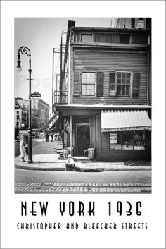 Christian Müringer - Historisches New York, Christopher and Breecker Streets New York Poster, Lounge, Multi Story Building, Christian, Street, Wall Canvas, Airport Lounge, Lounge Music, Walkway