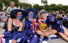 Aussie fans celebrate Australia Day.  Australian Open, January 2012.  #tennis