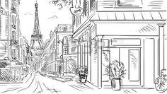 Street in paris - sketch illustration photo