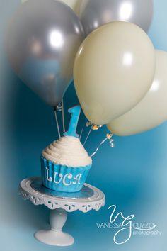 First birthday smash cake. Oversized cupcake