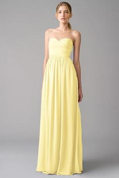 Chiffon Full Length Strapless Bridesmaid Dress TBQP284 | Pale ...