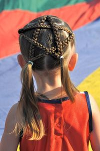 little girl braided star hair idea