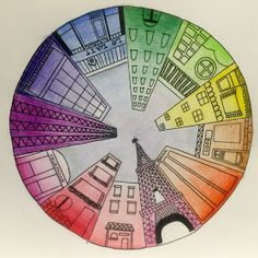 Kids Art Market: Color Wheel Perspective by ollie Color Wheel Art, Color Wheel Lesson, Color Wheel Worksheet, Color Wheel Projects, 7th Grade Art, Eighth Grade, Middle School Art Projects, Perspective Art, 1 Point Perspective Drawing