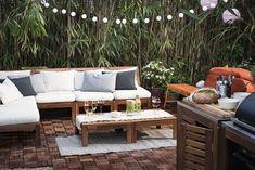 Stylish Ikea ÄPPLARÖ garden furniture with modern cushions and upholstered furniture - balkon - Balcony Furniture Design Patio Ikea, Ikea Outdoor, Ikea Patio Furniture, Diy Outdoor Furniture, Outdoor Spaces, Outdoor Living, Outdoor Decor, Furniture Ideas, Furniture Design
